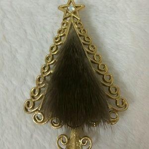 RARE!! SIGNED Tancer mink Christmas tree brooch